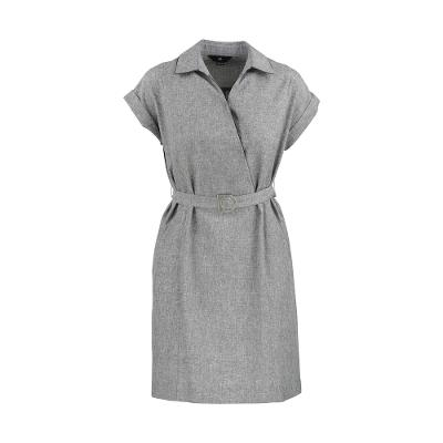 shirts style belted one-piece gray